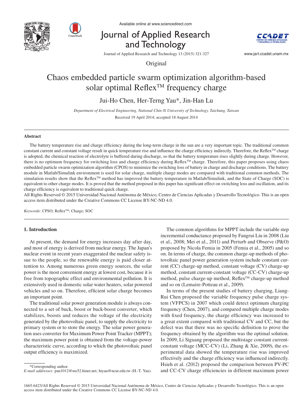 Chaos embedded particle swarm optimization algorithm-based solar
