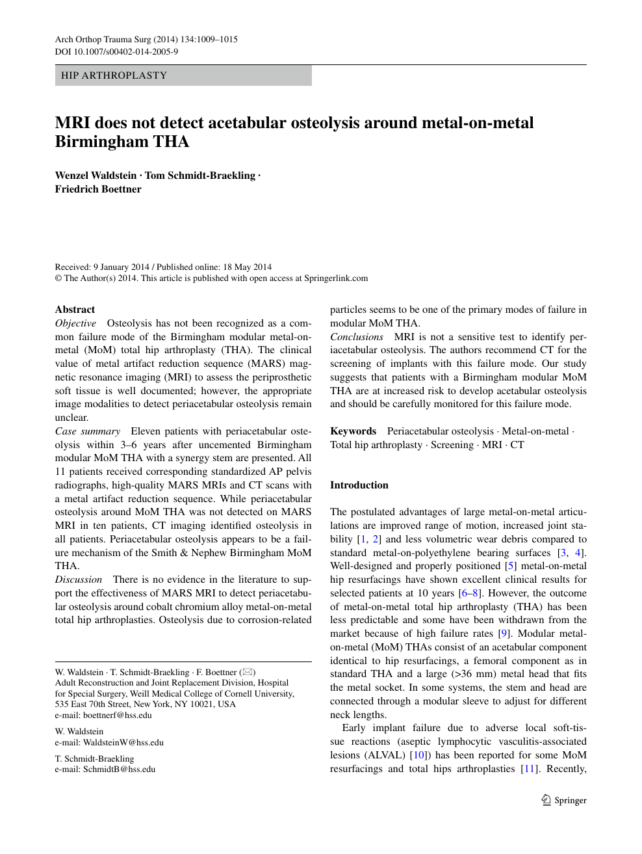 MRI does not detect acetabular osteolysis around metal-on