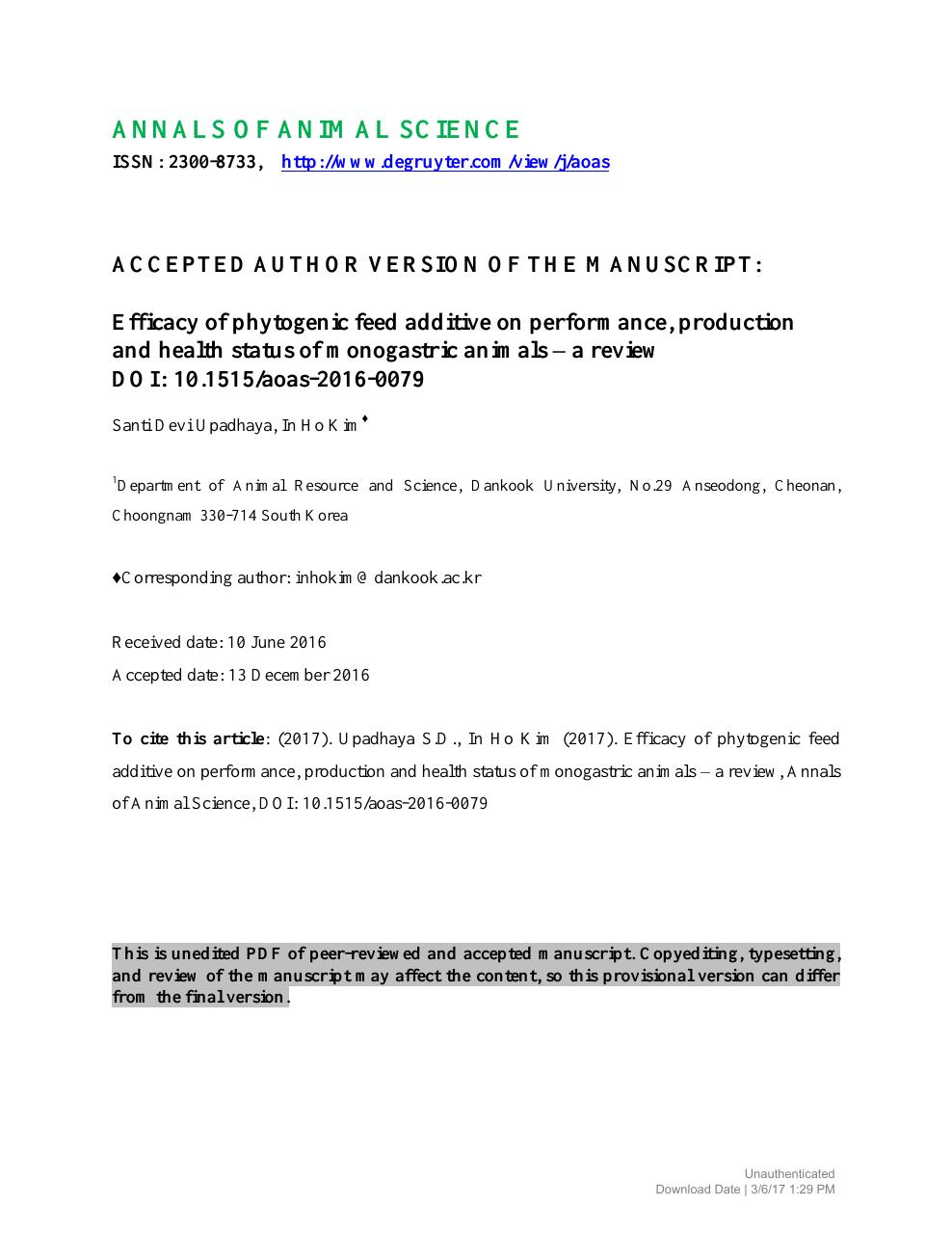 Efficacy of phytogenic feed additive on performance