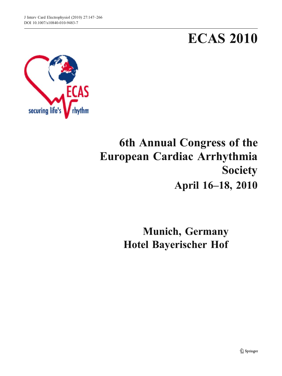 Special program and Abstract Issue of the 6th Congress of the