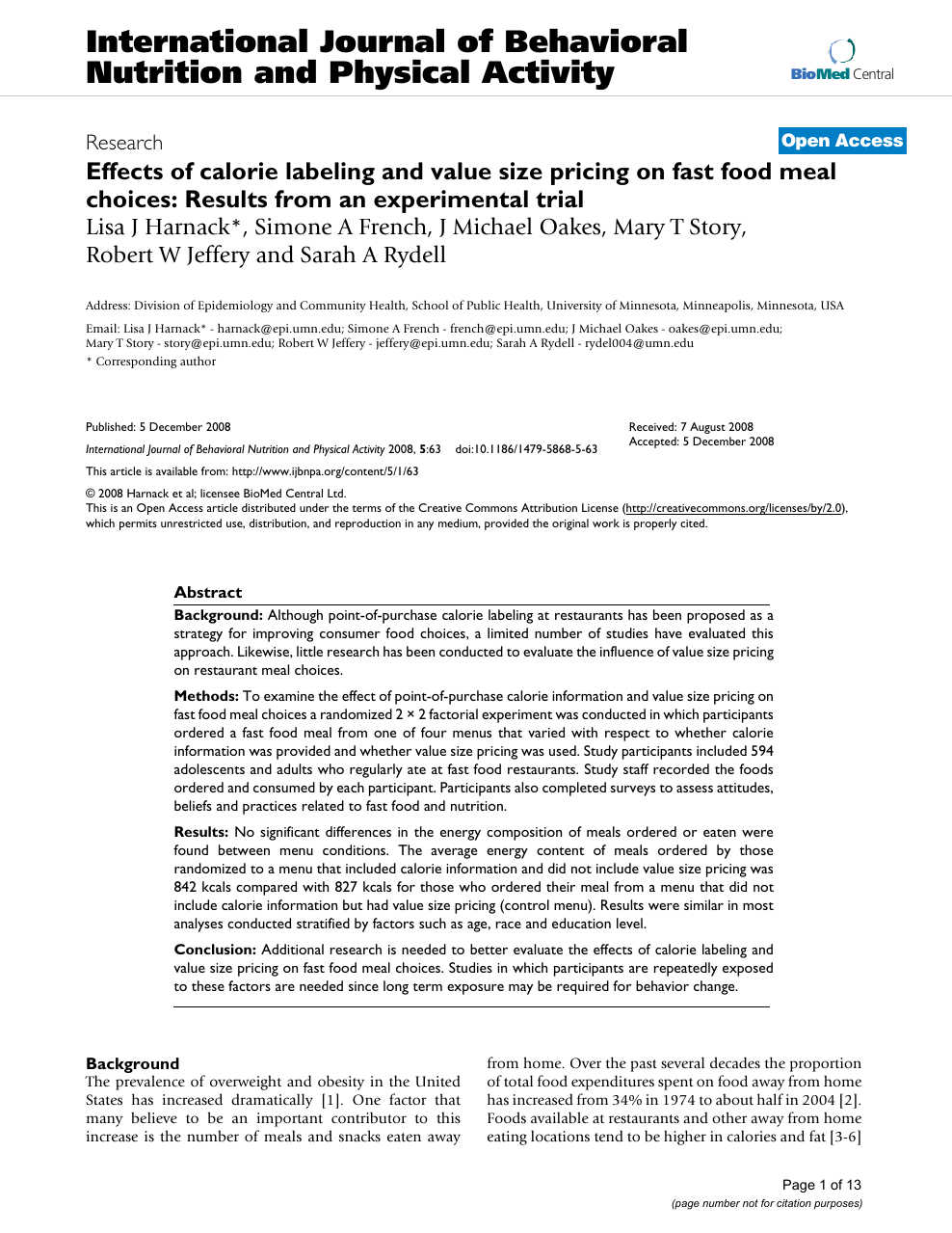 Effects of calorie labeling and value size pricing on fast food meal