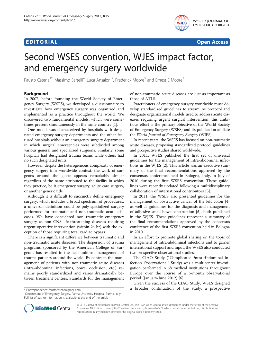 Second WSES convention, WJES impact factor, and emergency