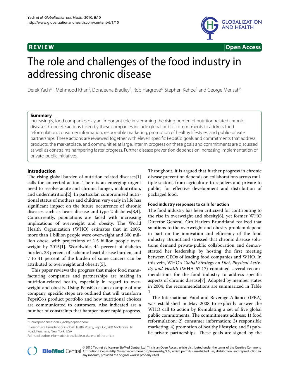 The role and challenges of the food industry in addressing