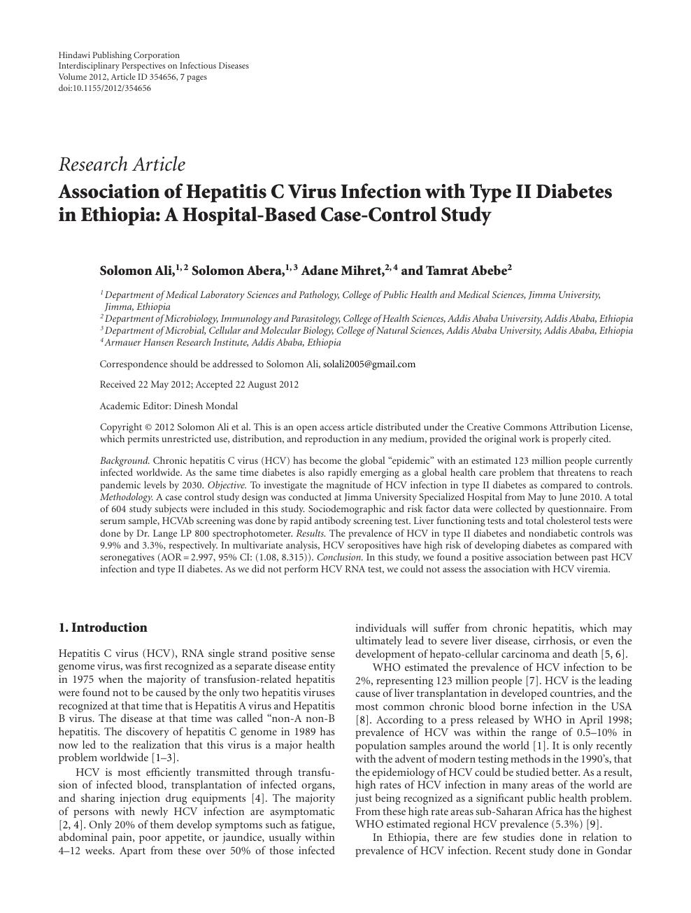 Association of Hepatitis C Virus Infection with Type II
