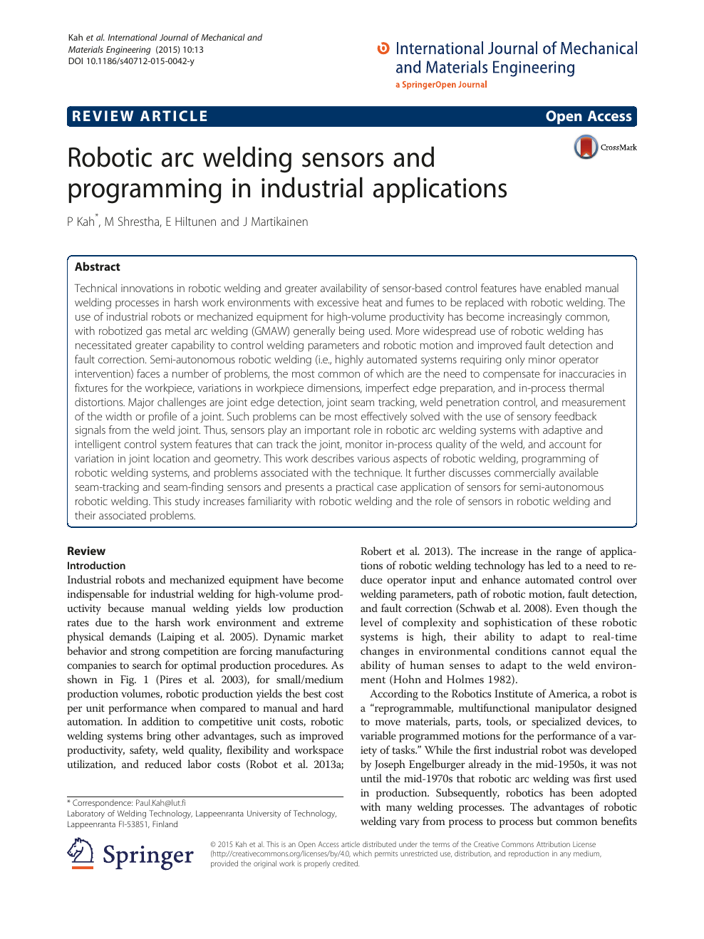 Robotic arc welding sensors and programming in industrial