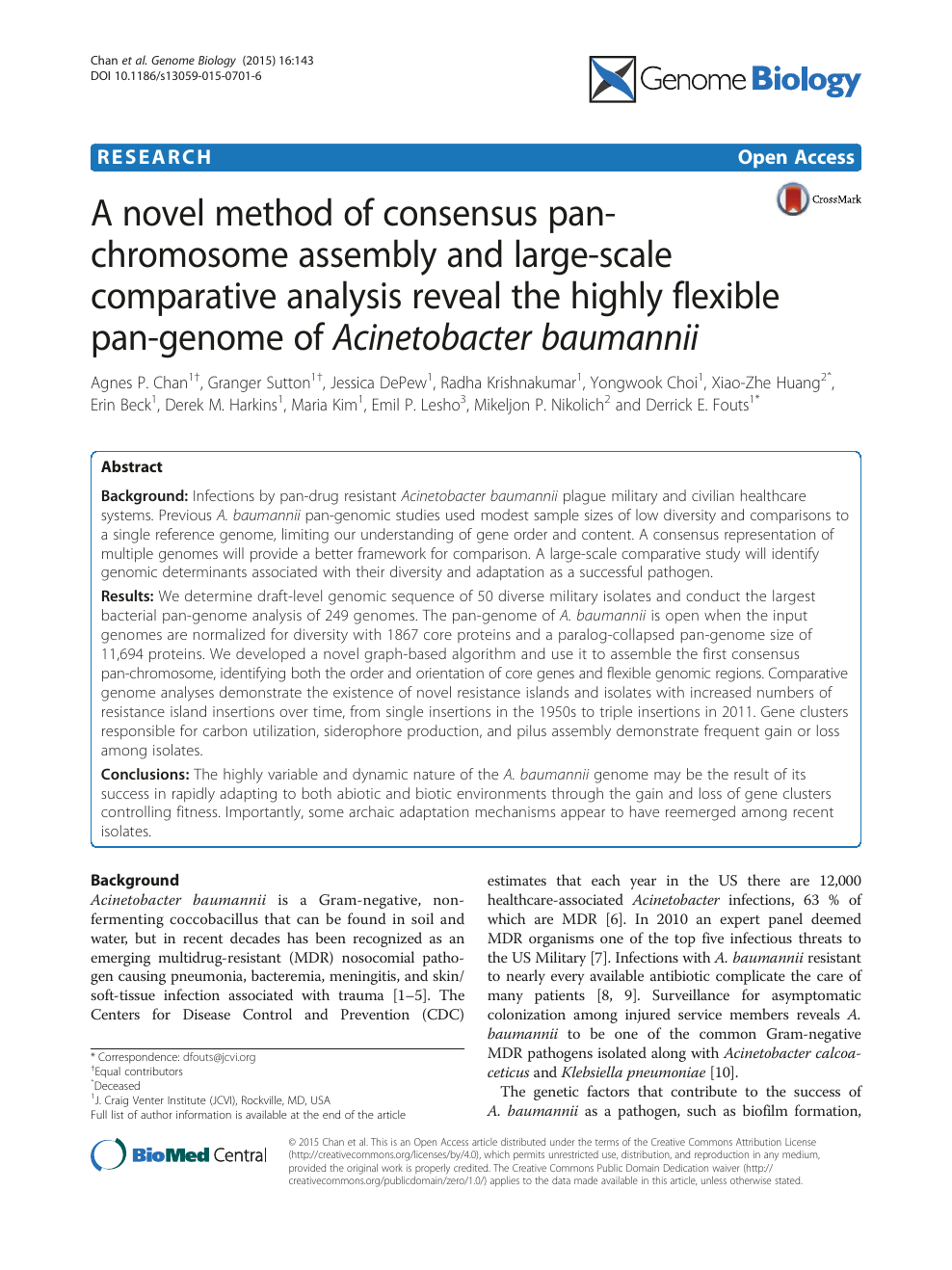 A novel method of consensus pan-chromosome assembly and large-scale