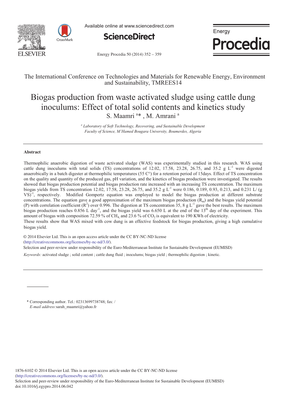 Biogas Production from Waste Activated Sludge Using Cattle