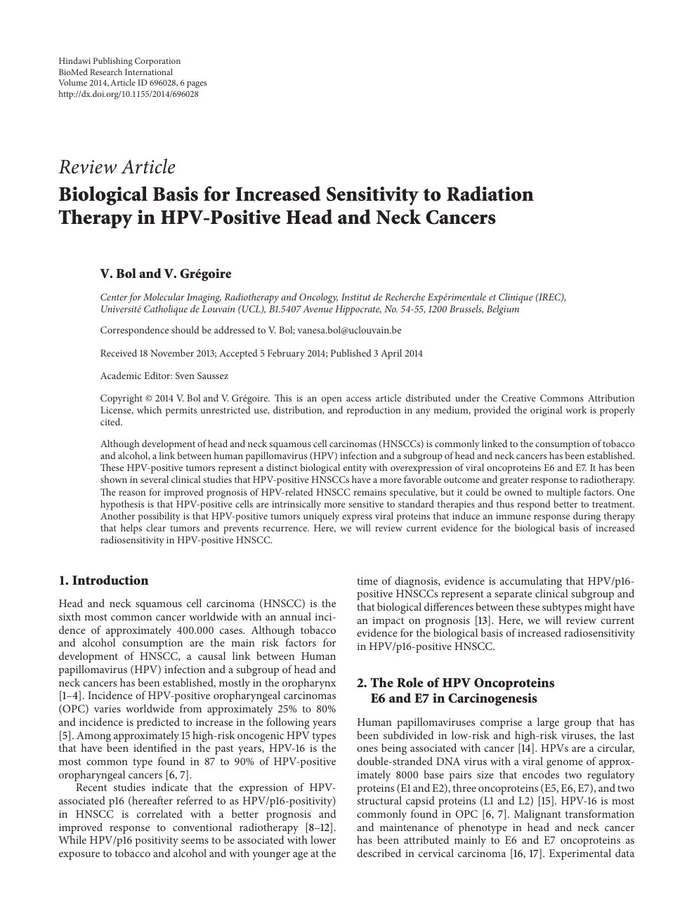 Biological Basis for Increased Sensitivity to Radiation Therapy in