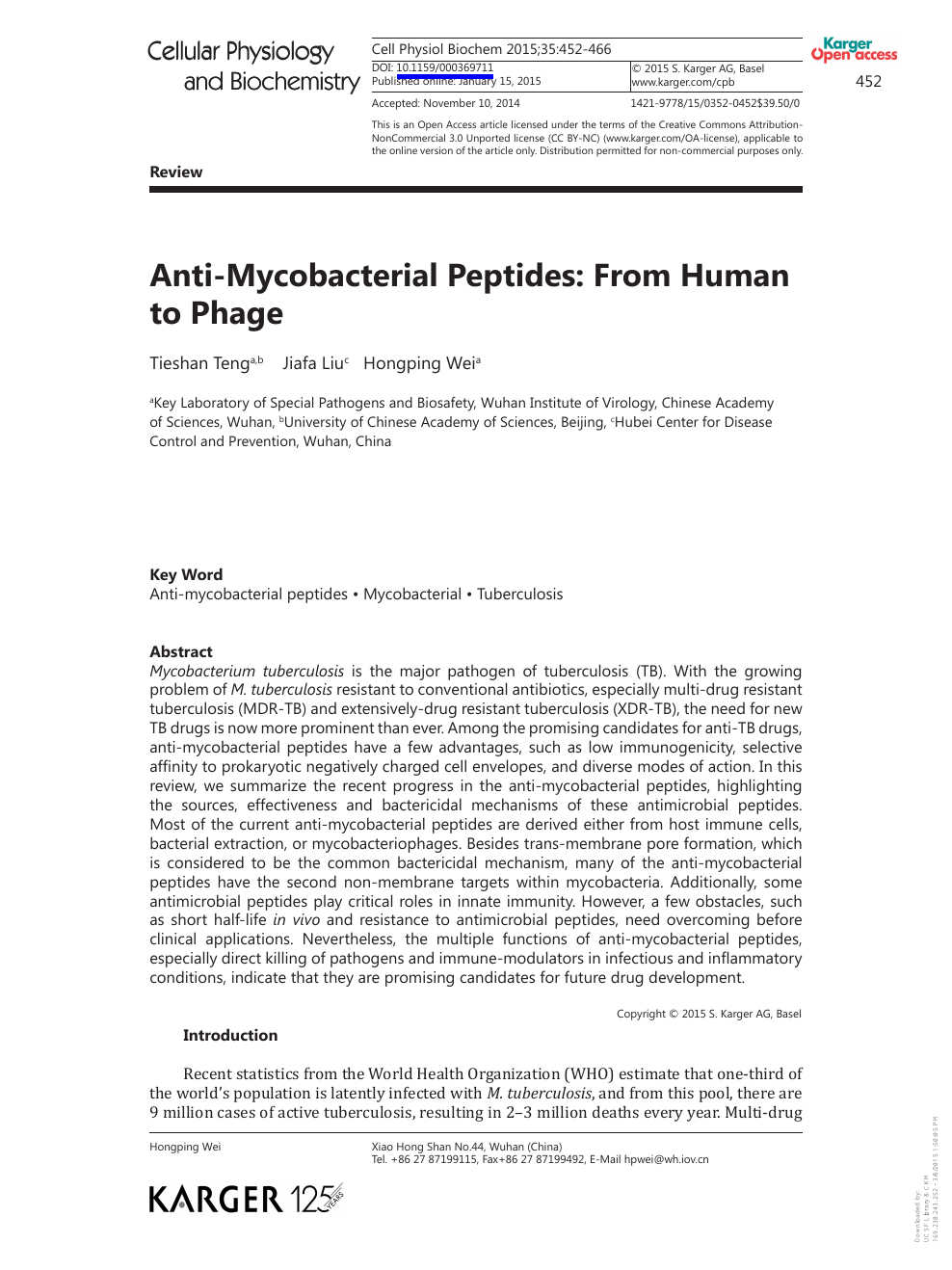Anti-Mycobacterial Peptides: From Human to Phage – topic of research