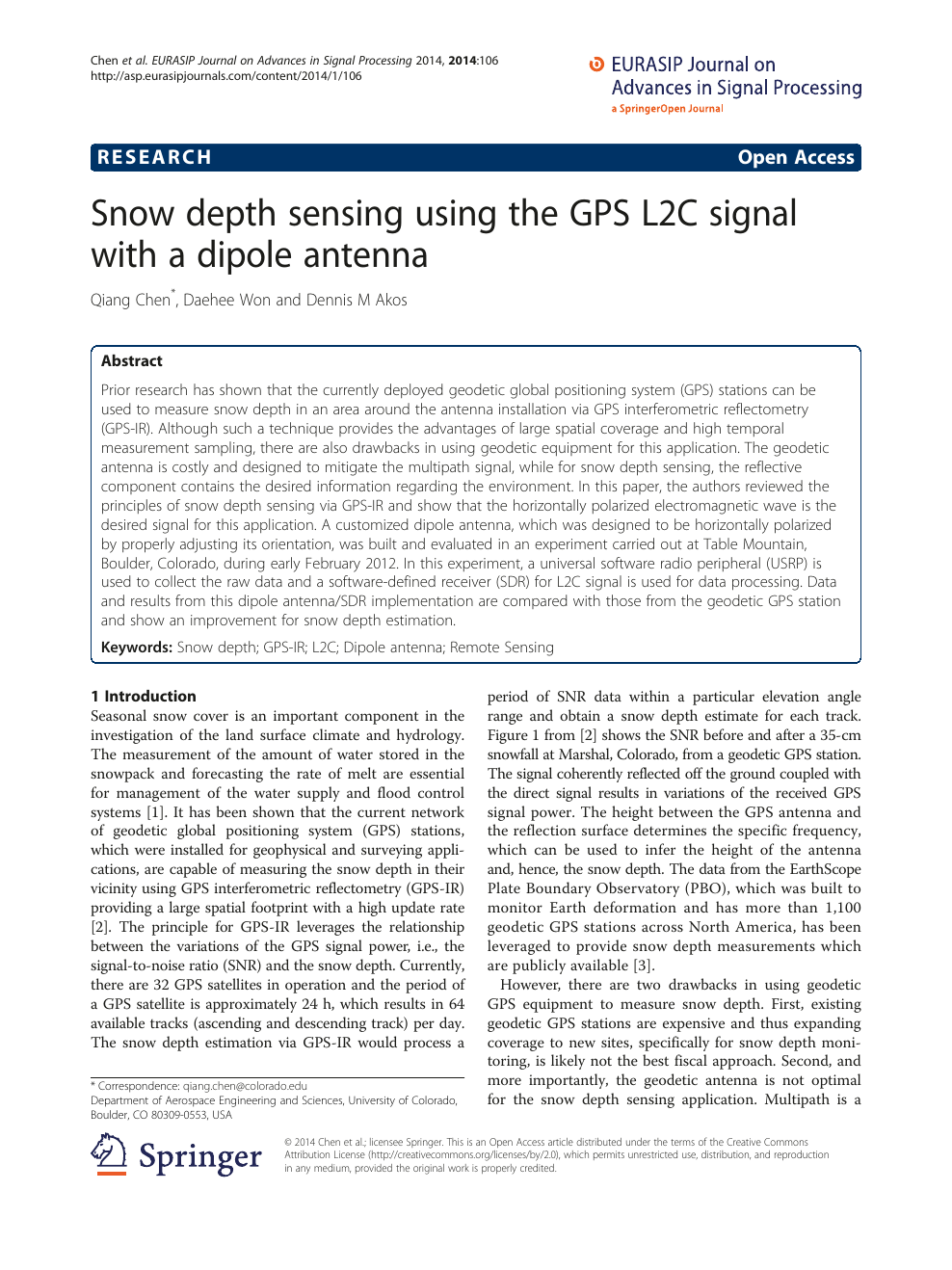 Snow depth sensing using the GPS L2C signal with a dipole antenna