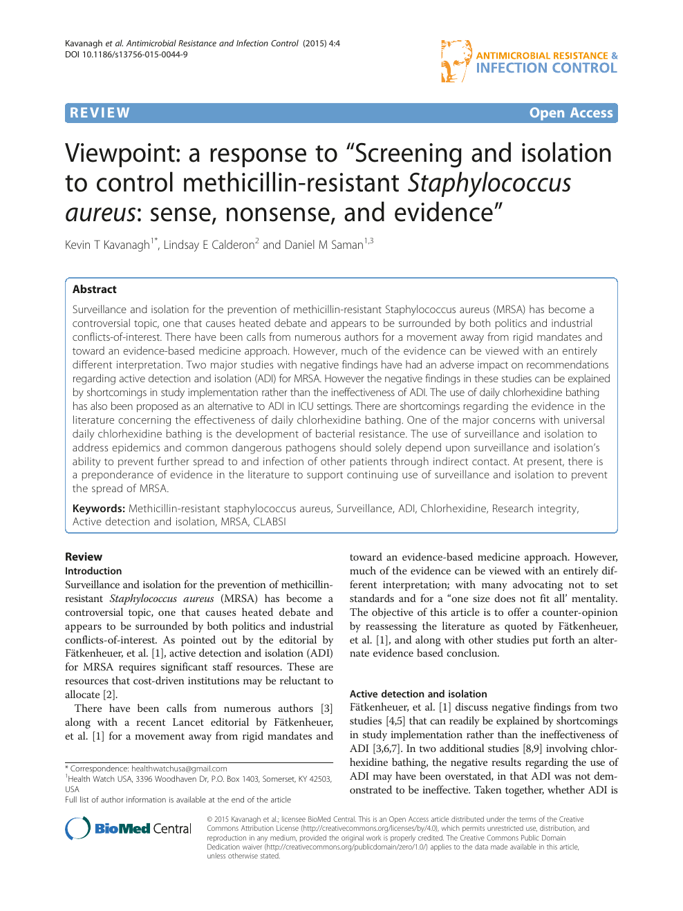 """Viewpoint: a response to """"Screening and isolation to control"""
