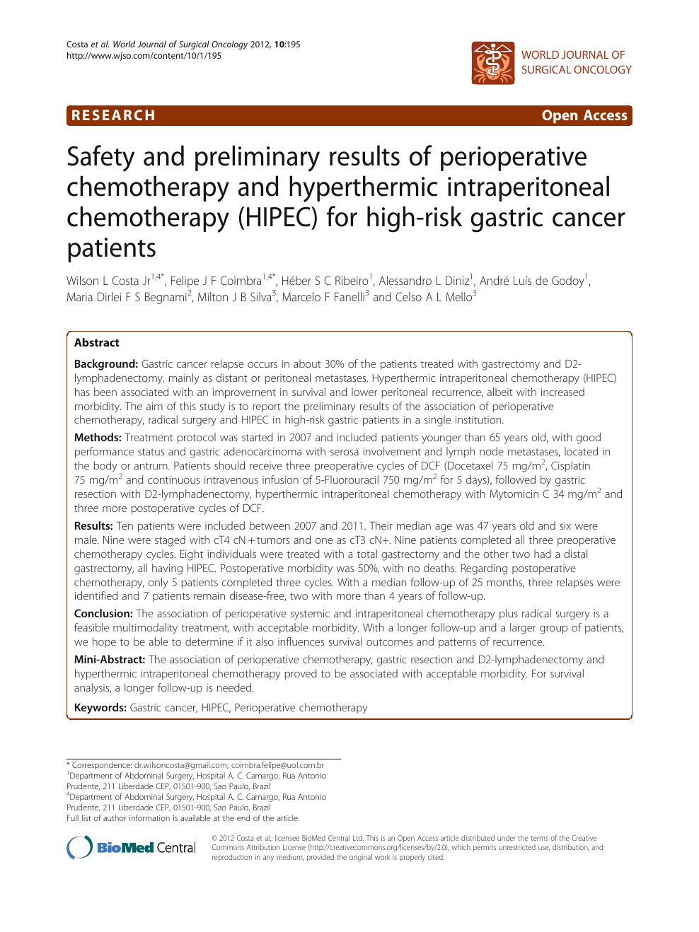 Safety And Preliminary Results Of Perioperative Chemotherapy And Hyperthermic Intraperitoneal Chemotherapy Hipec For High Risk Gastric Cancer Patients Topic Of Research Paper In Clinical Medicine Download Scholarly Article Pdf And Read For