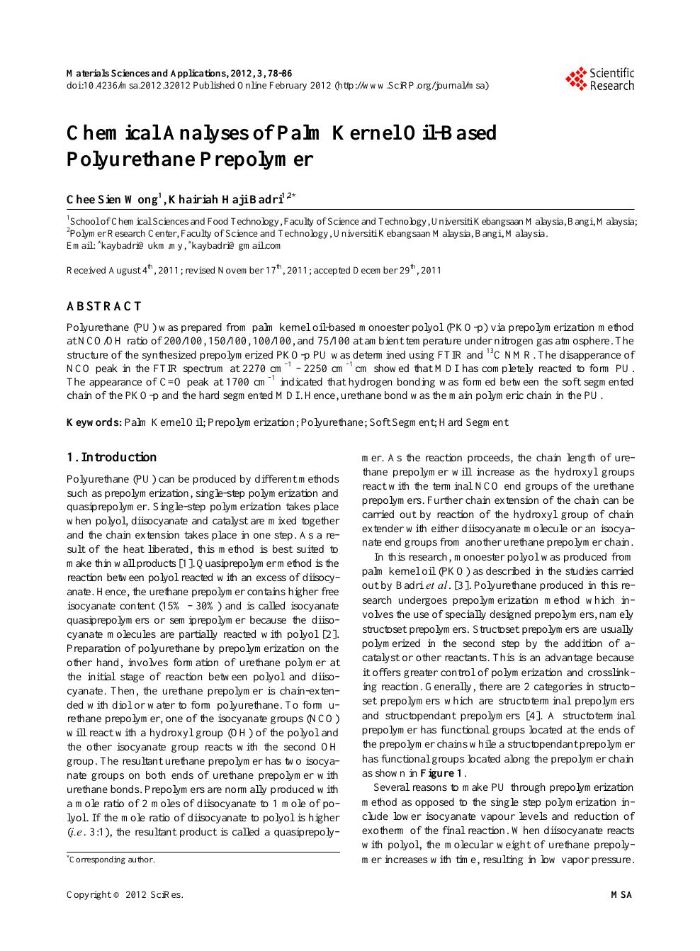 Chemical Analyses of Palm Kernel Oil-Based Polyurethane Prepolymer