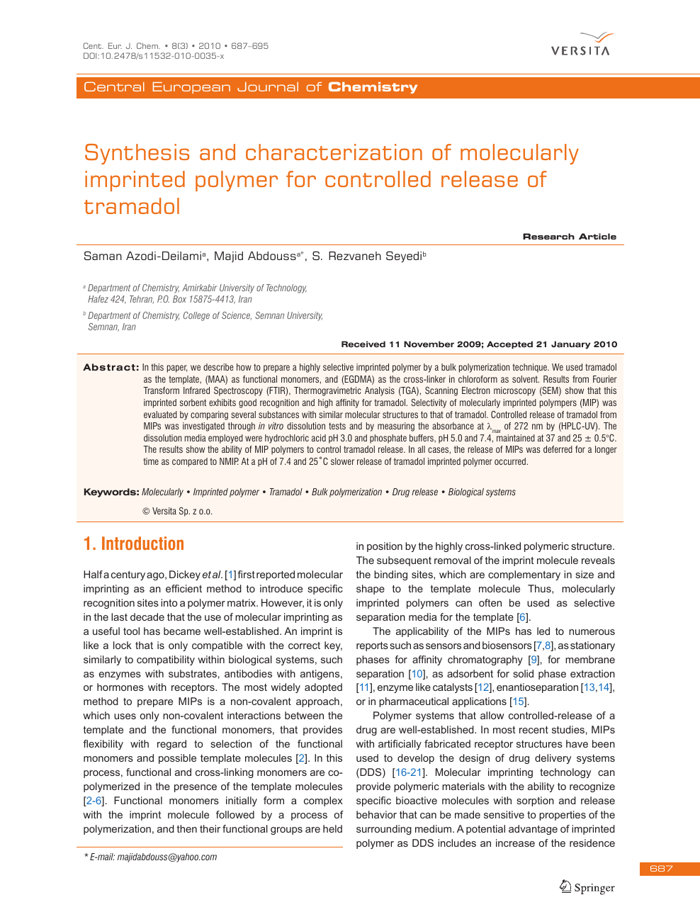 Synthesis and characterization of molecularly imprinted
