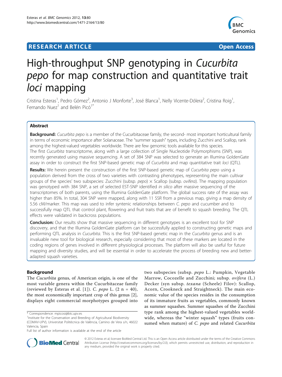 High-throughput SNP genotyping in Cucurbita pepo for map ... on