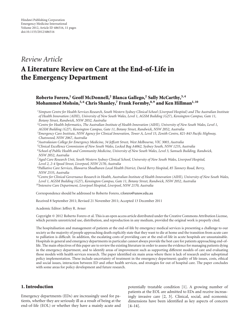 A Literature Review on Care at the End-of-Life in the Emergency