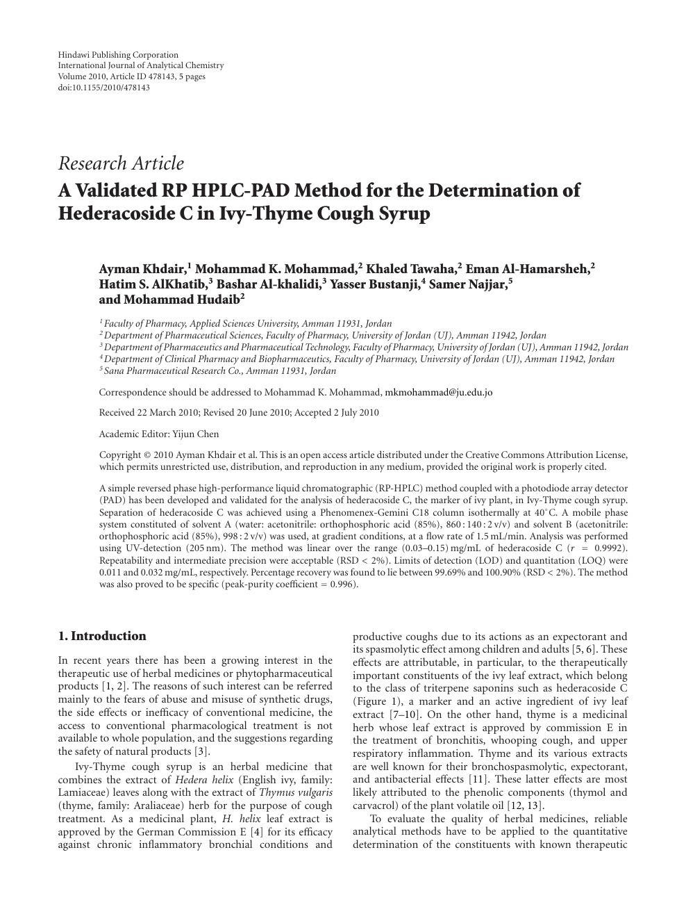 A Validated RP HPLC-PAD Method for the Determination of Hederacoside