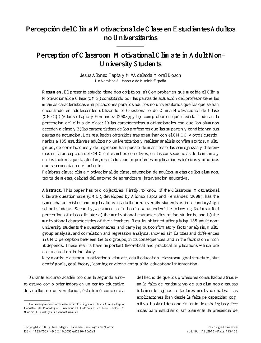 Percepción Del Clima Motivacional De Clase En Estudiantes