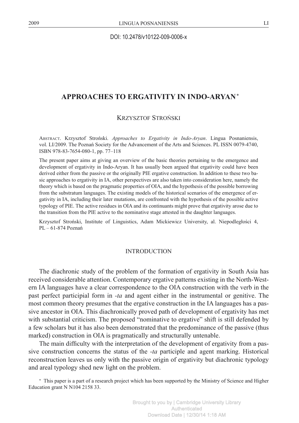Approaches to Ergativity in Indo-Aryan – topic of research