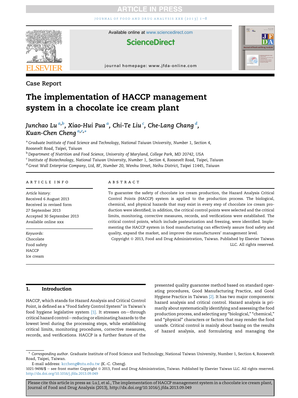 The implementation of HACCP management system in a chocolate
