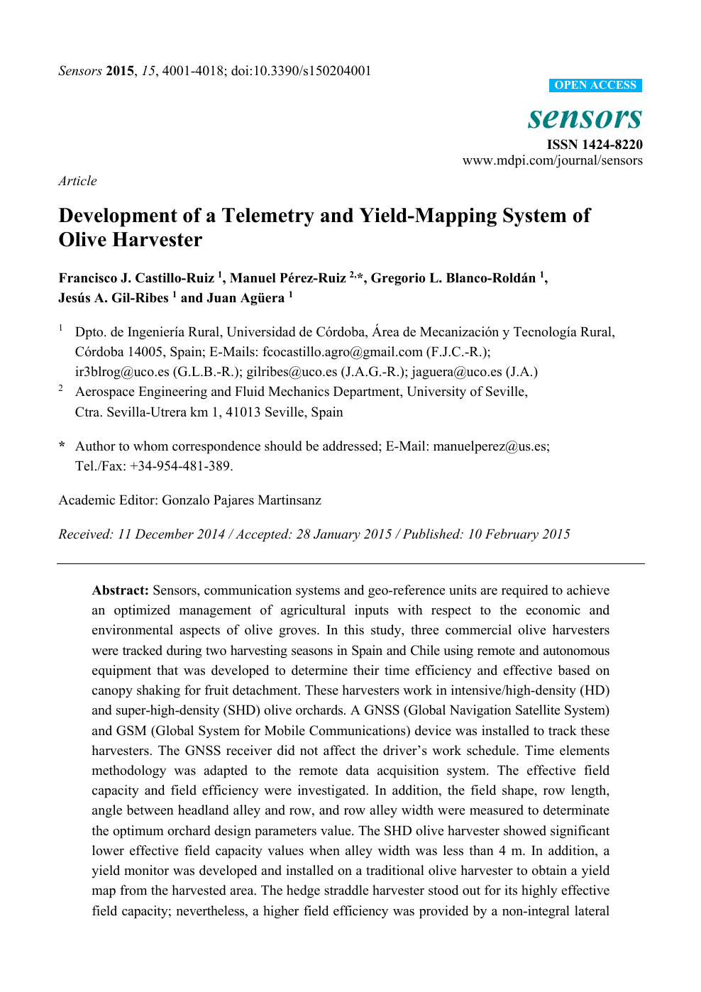 Development of a Telemetry and Yield-Mapping System of Olive