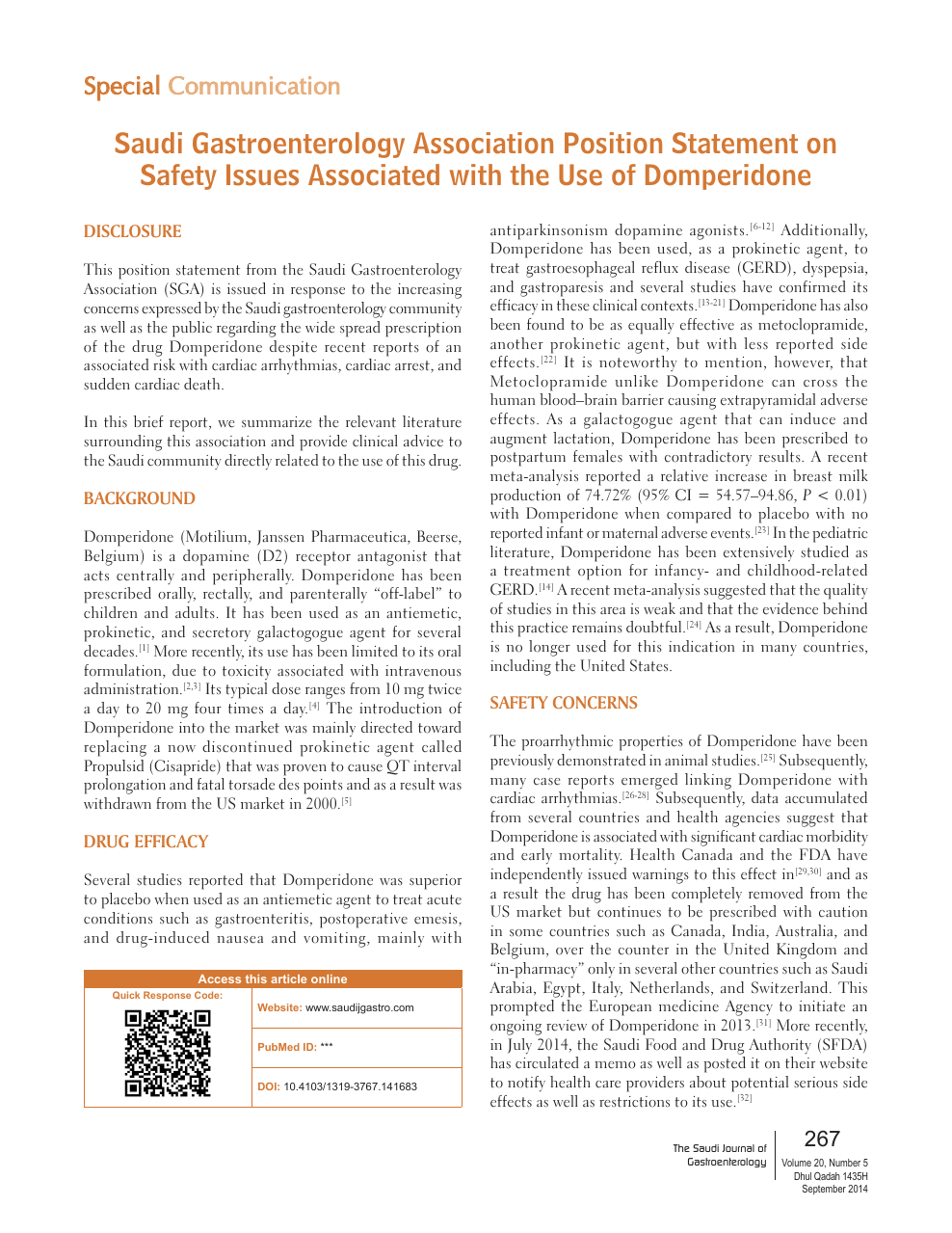 Saudi Gastroenterology Association Position Statement On Safety