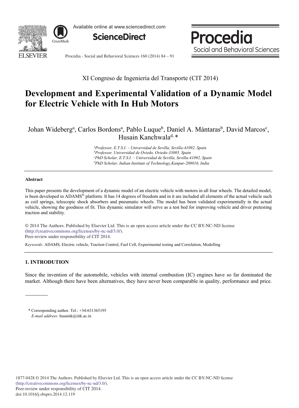 Development and Experimental Validation of a Dynamic Model for
