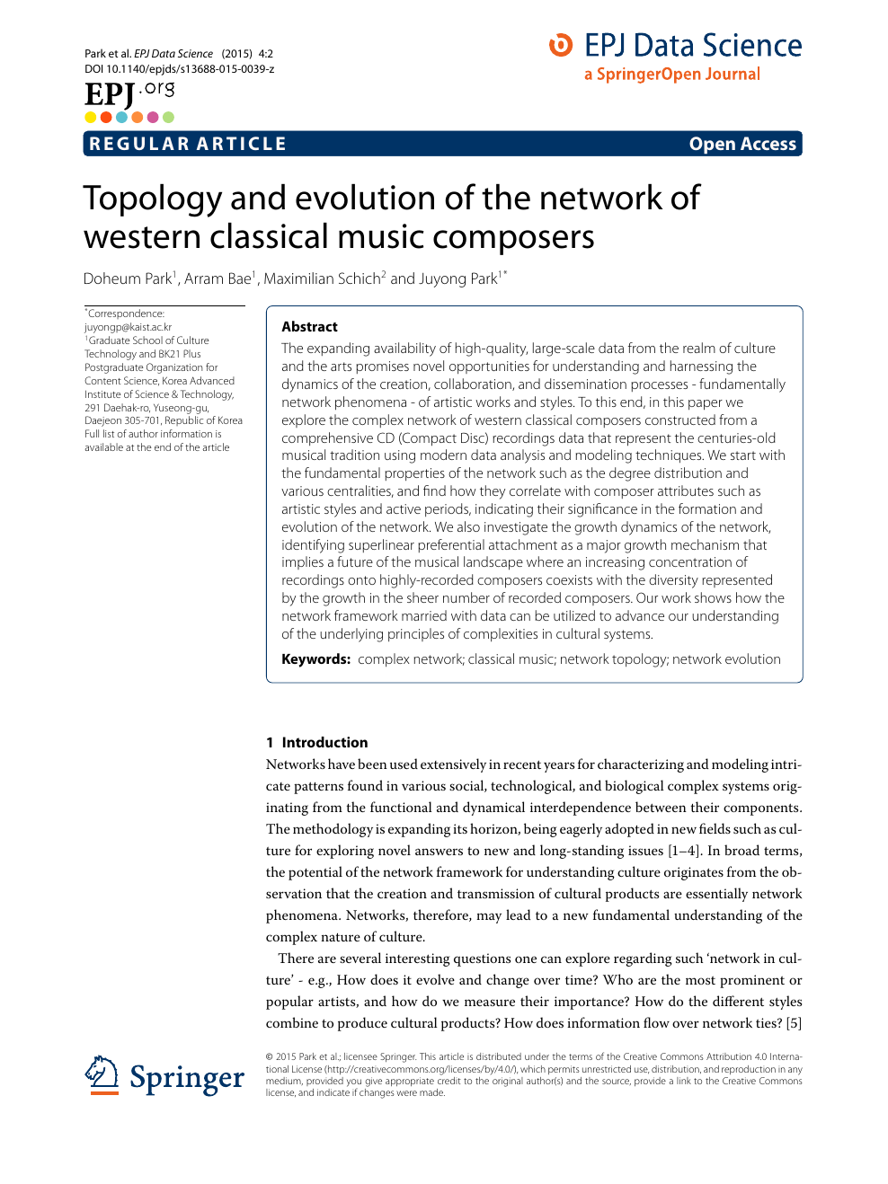 Topology and evolution of the network of western classical music