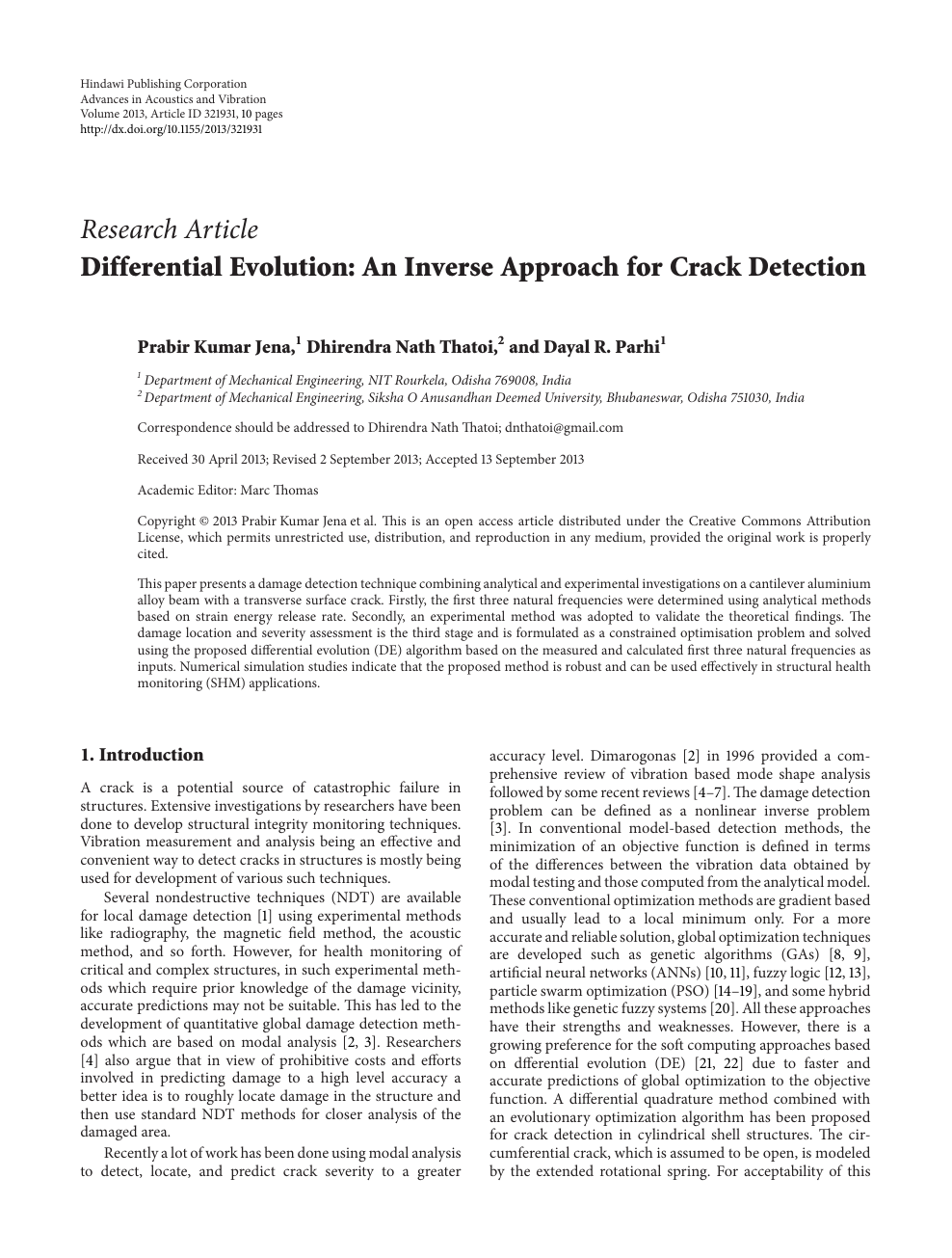 Differential Evolution: An Inverse Approach for Crack Detection