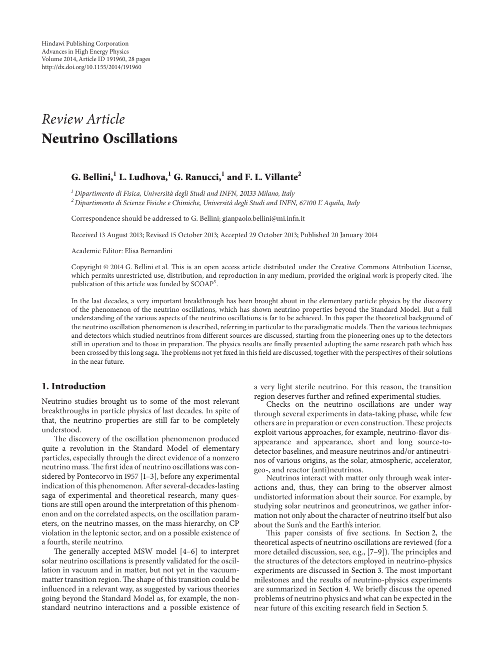 Neutrino Oscillations – topic of research paper in Physical
