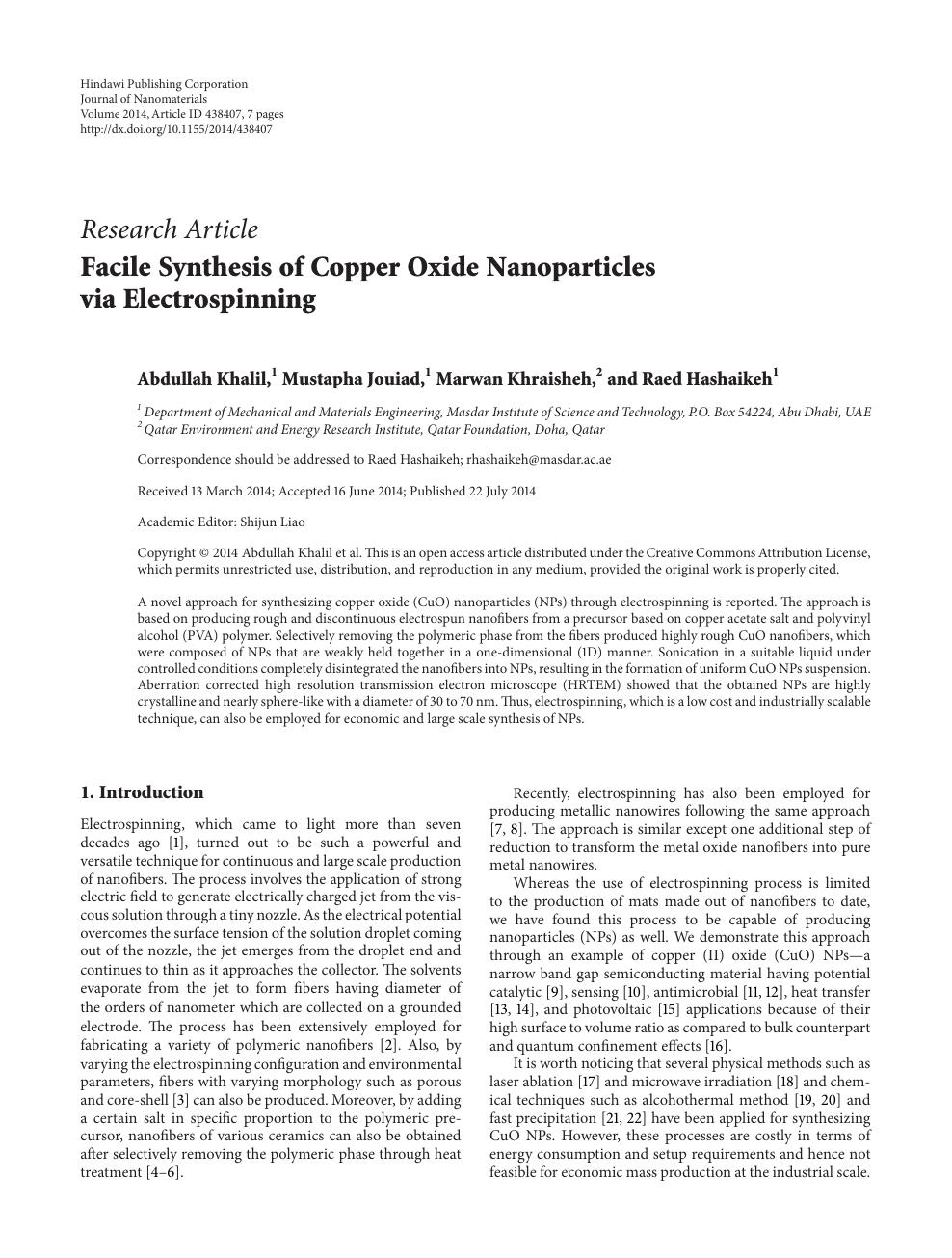 Facile Synthesis of Copper Oxide Nanoparticles via