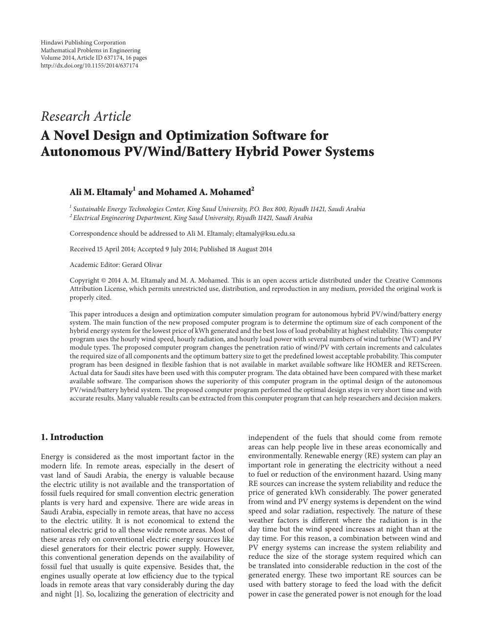 A Novel Design And Optimization Software For Autonomous Pv Wind Battery Hybrid Power Systems Topic Of Research Paper In Electrical Engineering Electronic Engineering Information Engineering Download Scholarly Article Pdf And Read For Free