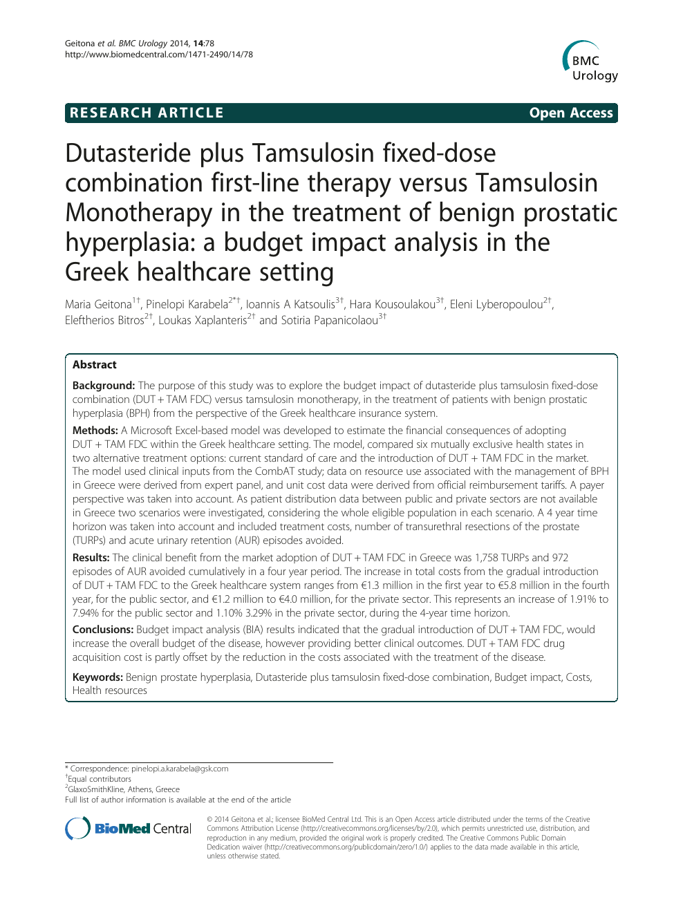 Dutasteride Plus Tamsulosin Fixed Dose Combination First Line Therapy Versus Tamsulosin Monotherapy In The Treatment Of Benign Prostatic Hyperplasia A Budget Impact Analysis In The Greek Healthcare Setting Topic Of Research Paper In