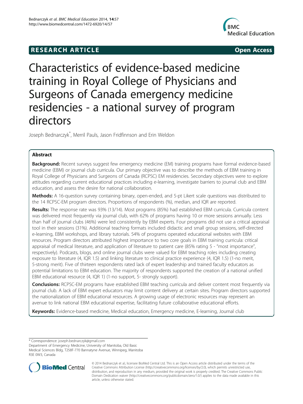 Characteristics of evidence-based medicine training in Royal College