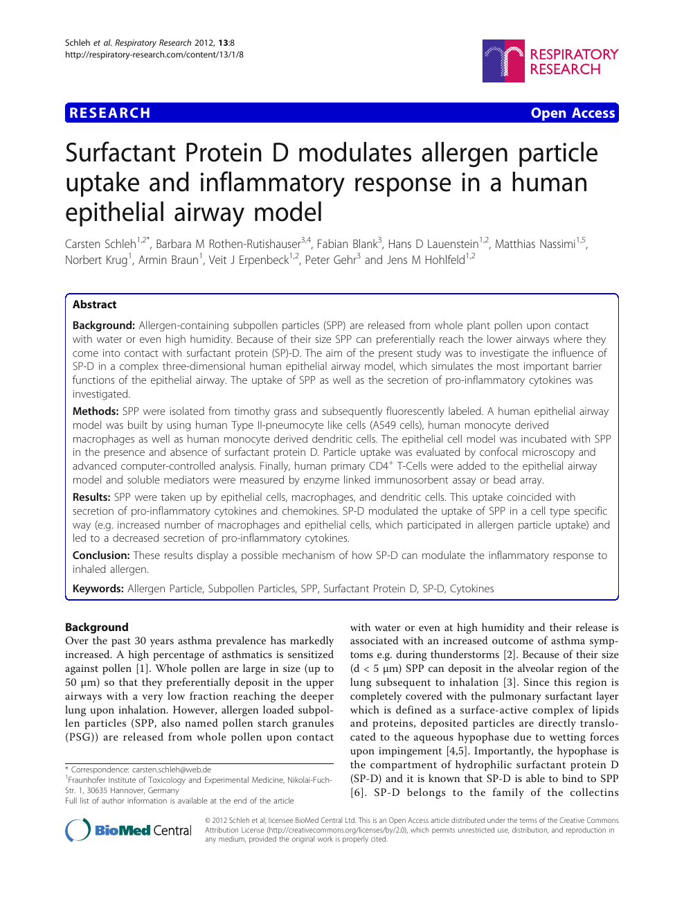 Surfactant Protein D modulates allergen particle uptake and