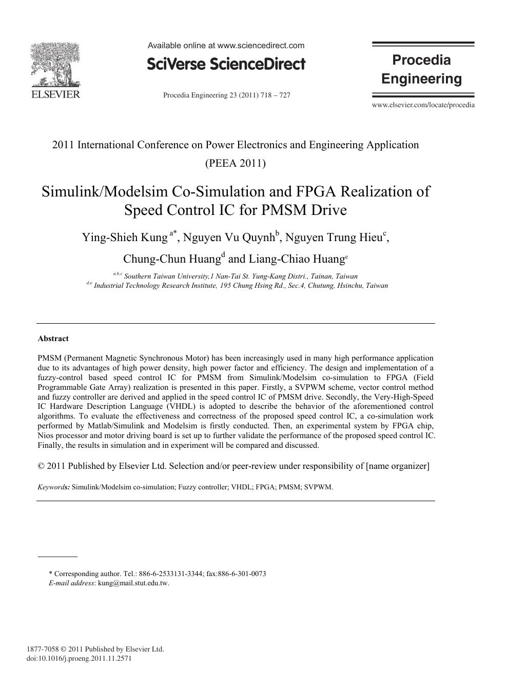 Simulink/Modelsim Co-Simulation and FPGA Realization of