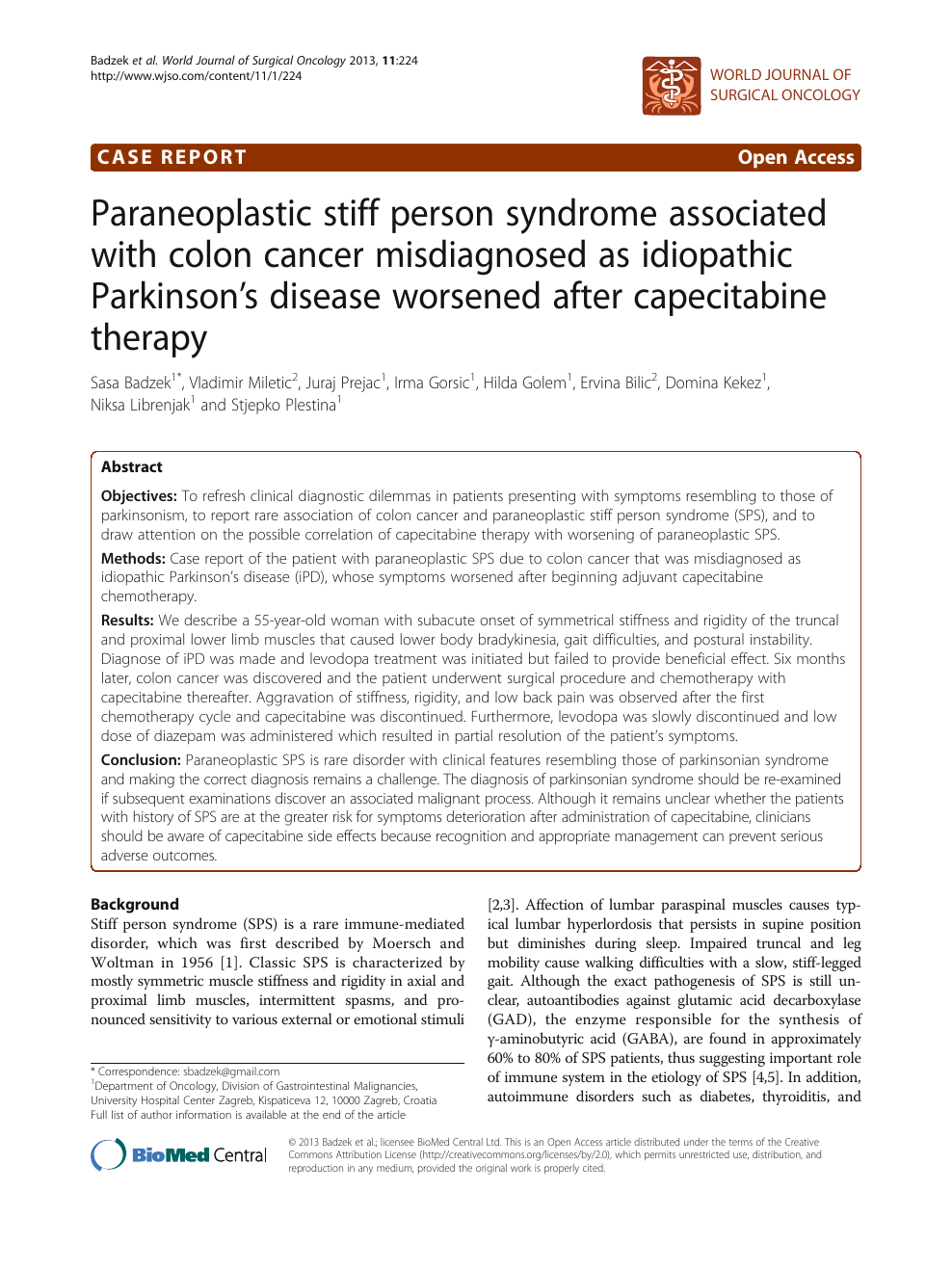 Paraneoplastic Stiff Person Syndrome Associated With Colon Cancer Misdiagnosed As Idiopathic Parkinson S Disease Worsened After Capecitabine Therapy Topic Of Research Paper In Clinical Medicine Download Scholarly Article Pdf And Read For