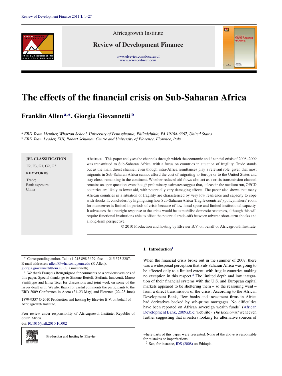 The effects of the financial crisis on Sub-Saharan Africa