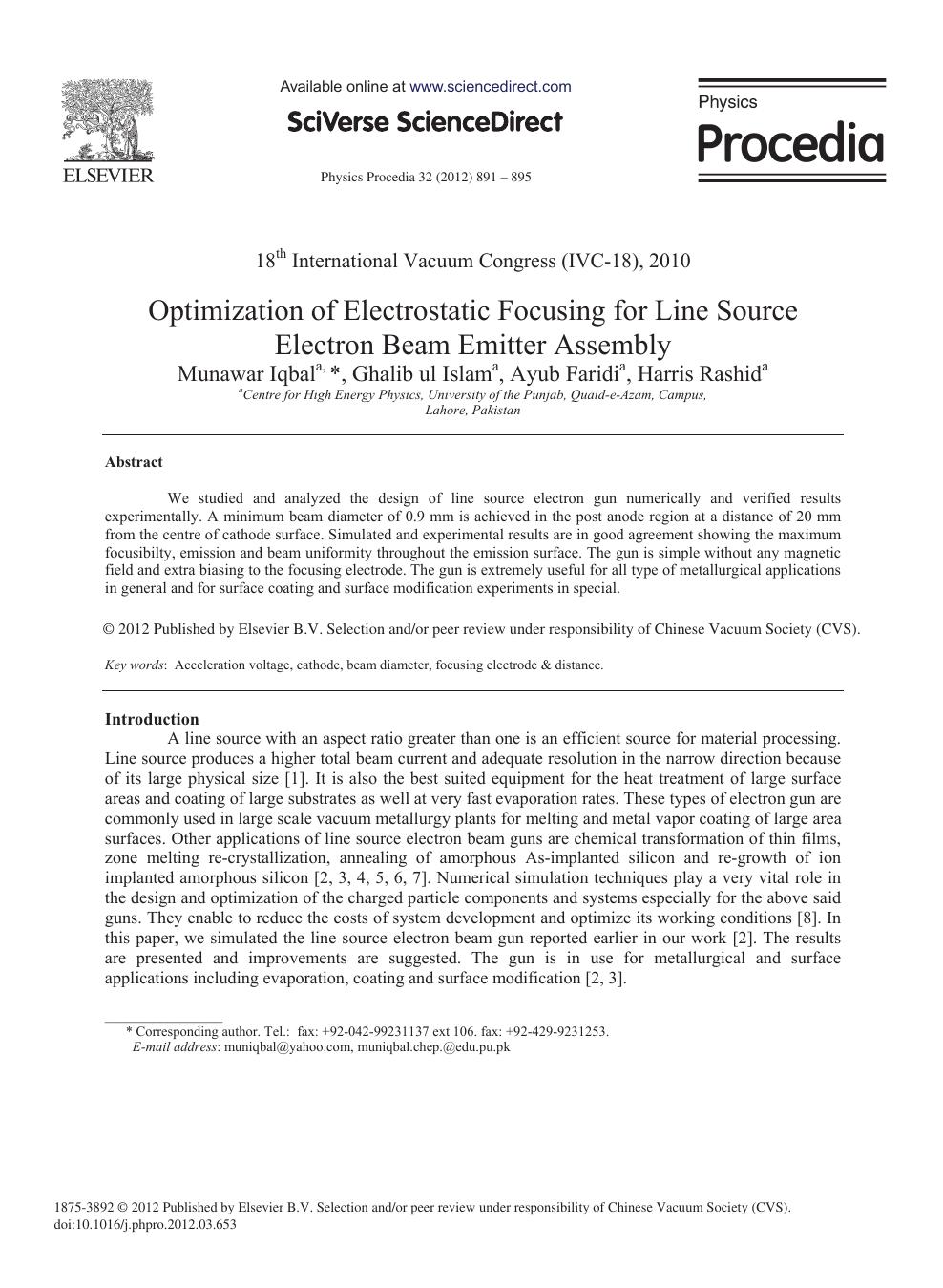 Optimization of Electrostatic Focusing for Line Source
