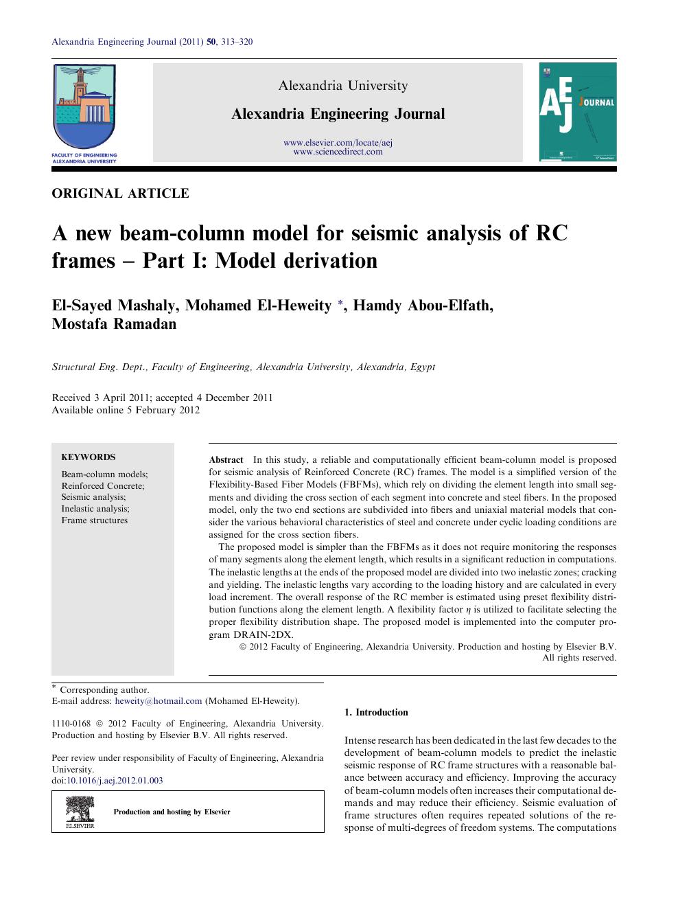 A new beam-column model for seismic analysis of RC frames