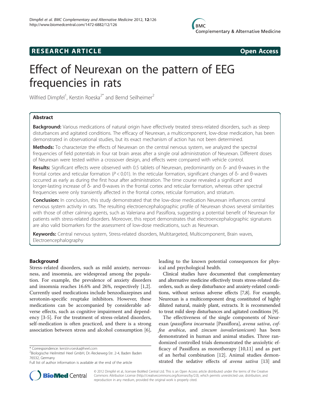 Effect of Neurexan on the pattern of EEG frequencies in rats