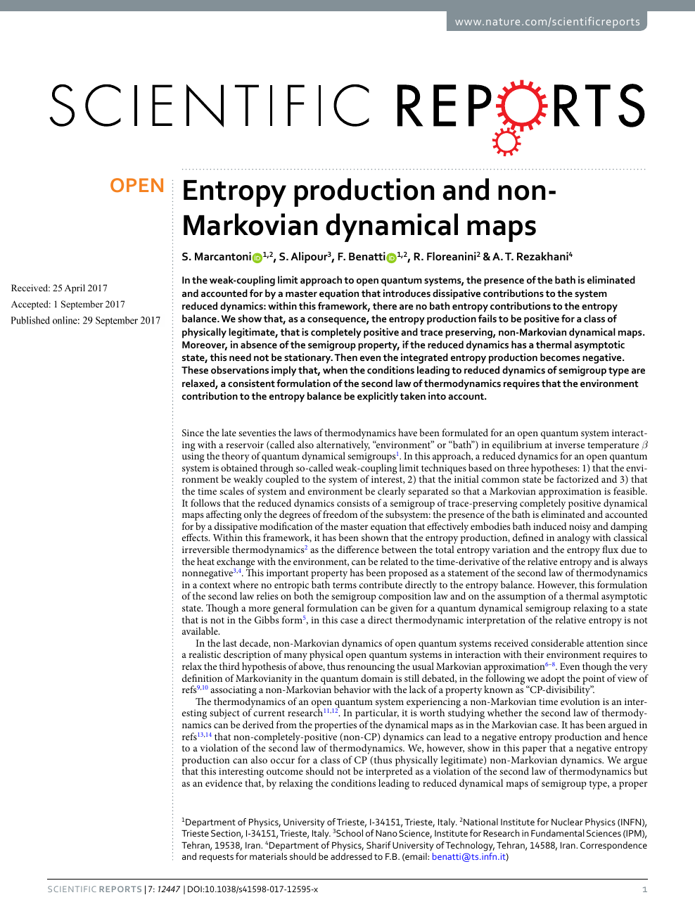 Entropy production and non-Markovian dynamical maps – topic
