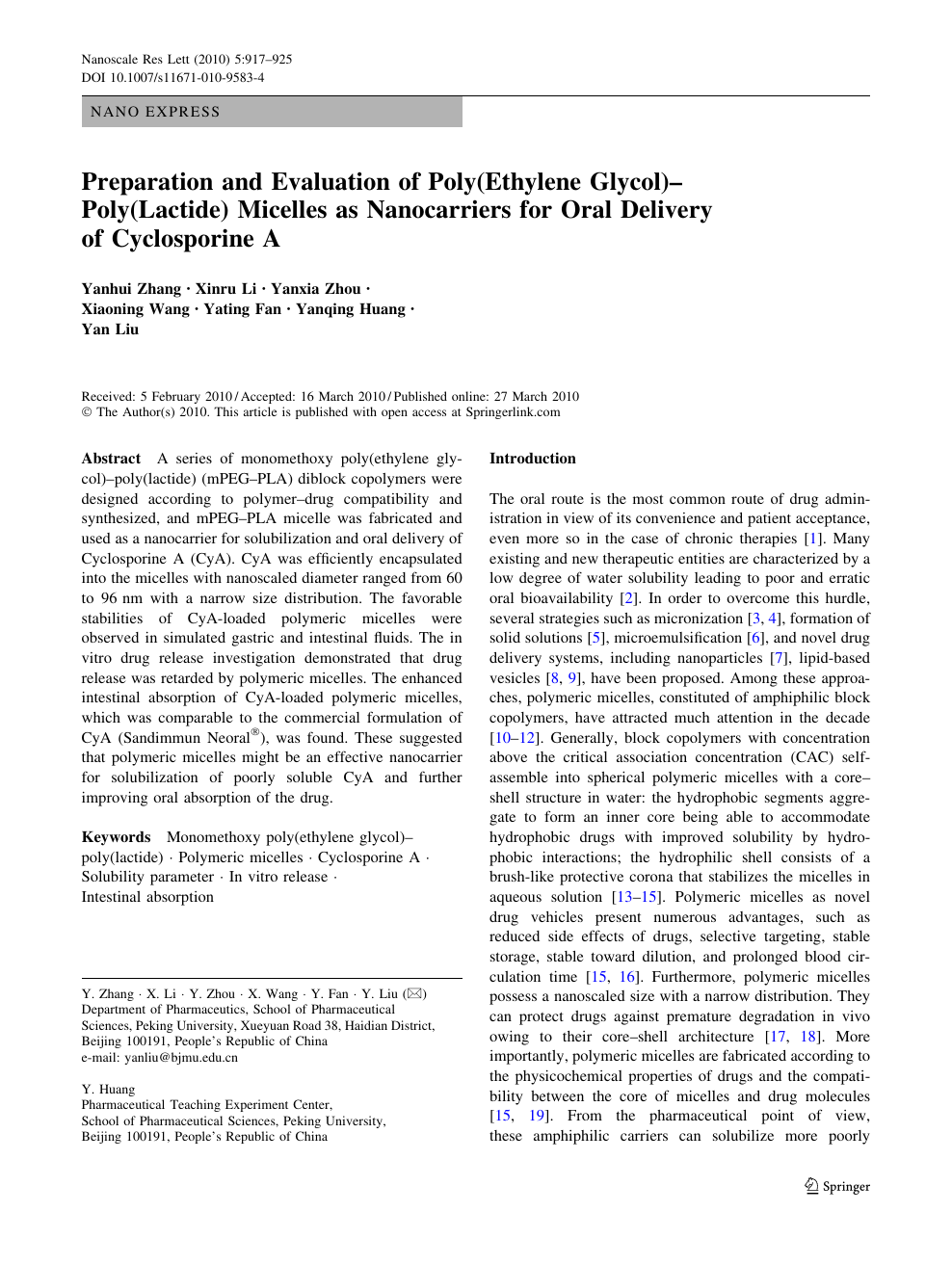 Preparation and Evaluation of Poly(Ethylene Glycol)–Poly