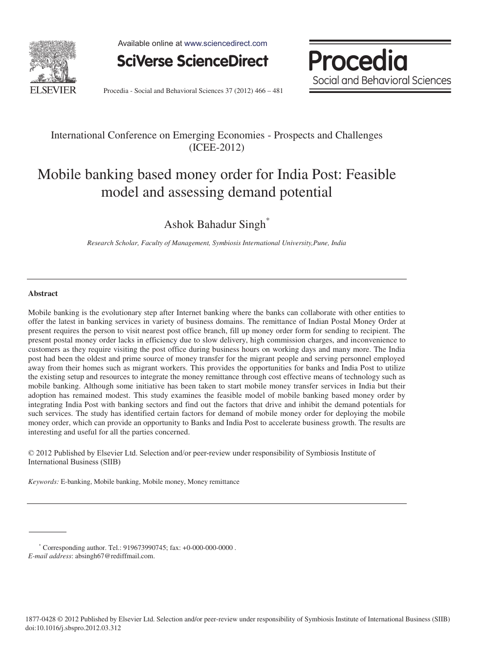 Mobile Banking Based Money Order for India Post: Feasible