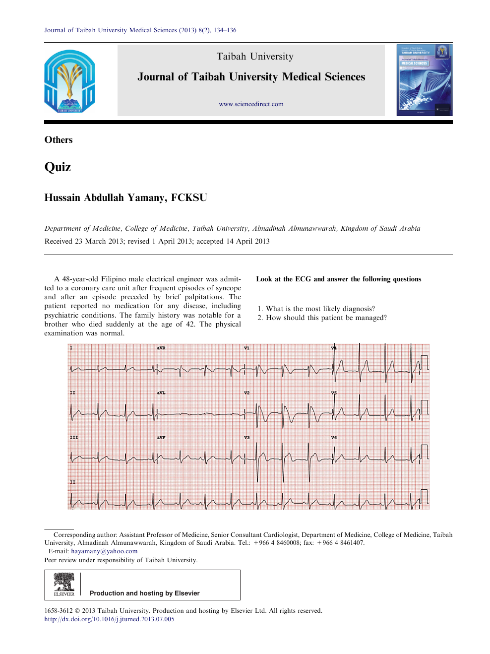 ECG Quiz – topic of research paper in Clinical medicine  Download