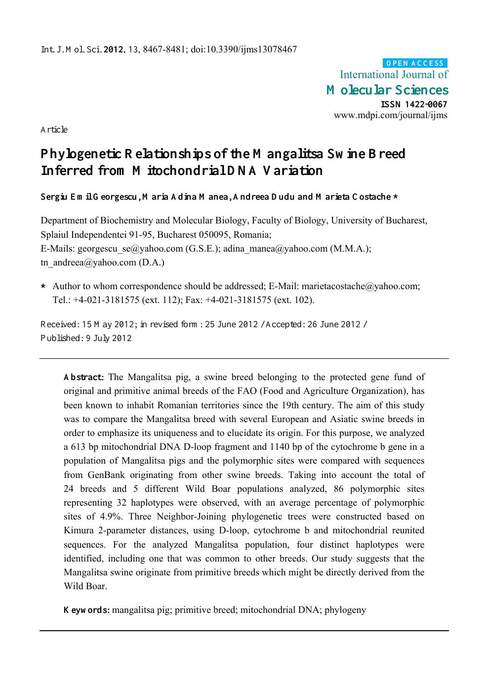 Andreea Reyes phylogenetic relationships of the mangalitsa swine breed
