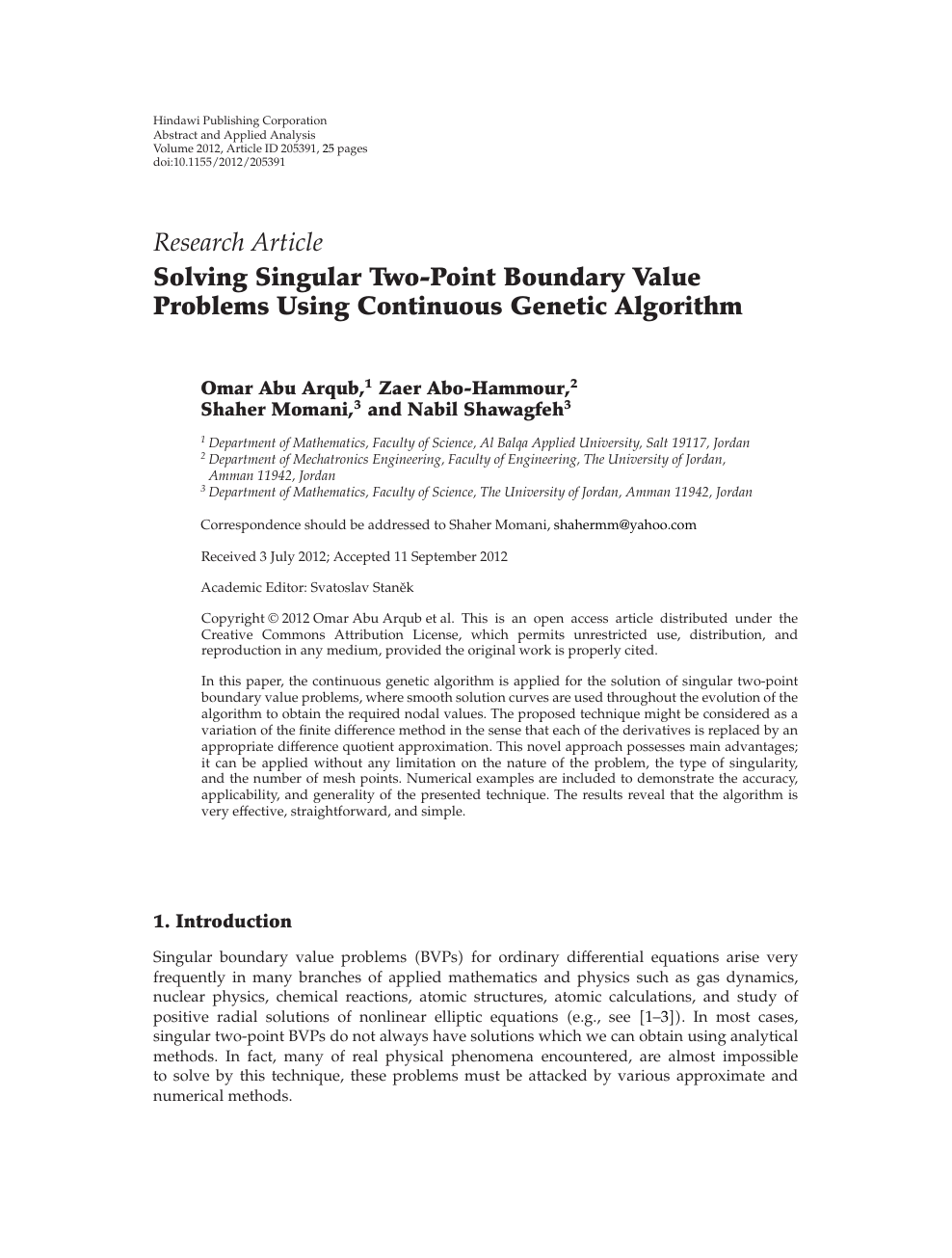 Solving Singular Two-Point Boundary Value Problems Using Continuous