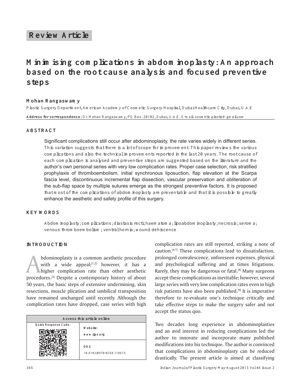 Minimising complications in abdominoplasty: An approach based on the