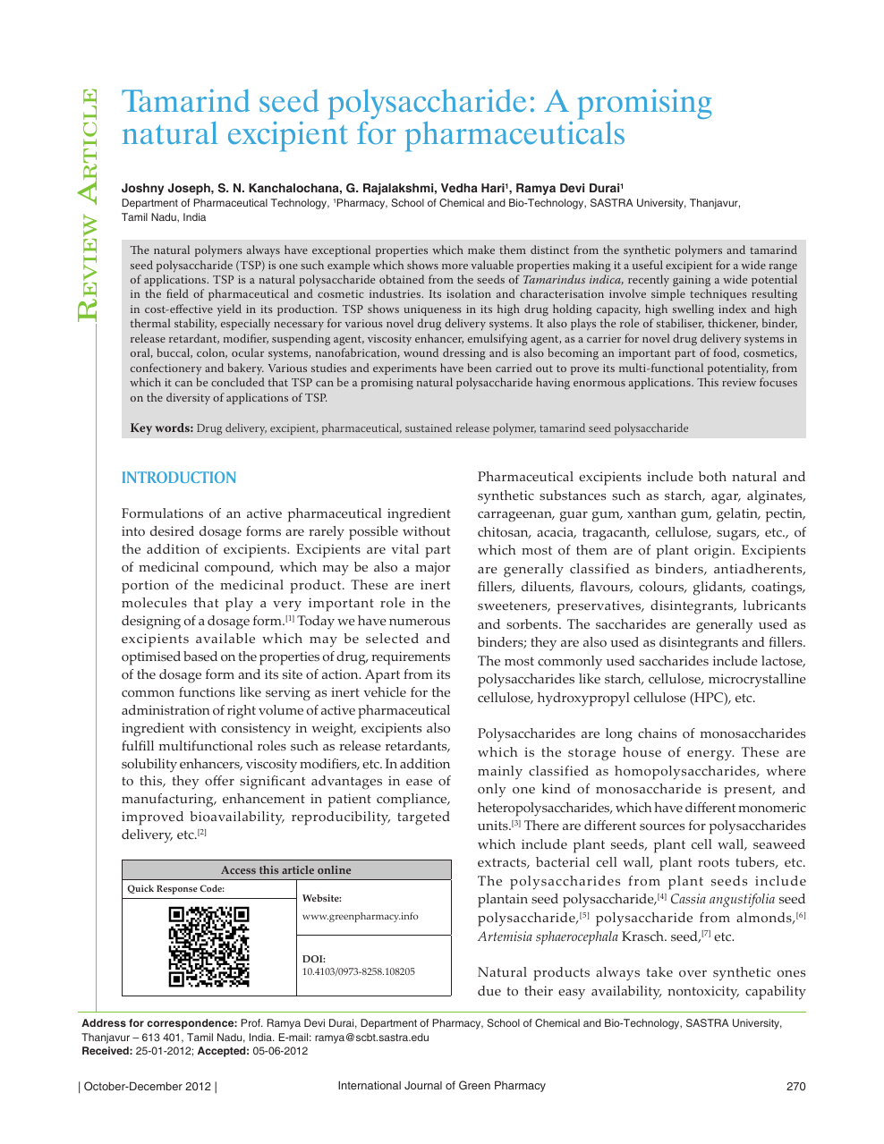 Tamarind seed polysaccharide: A promising natural excipient for