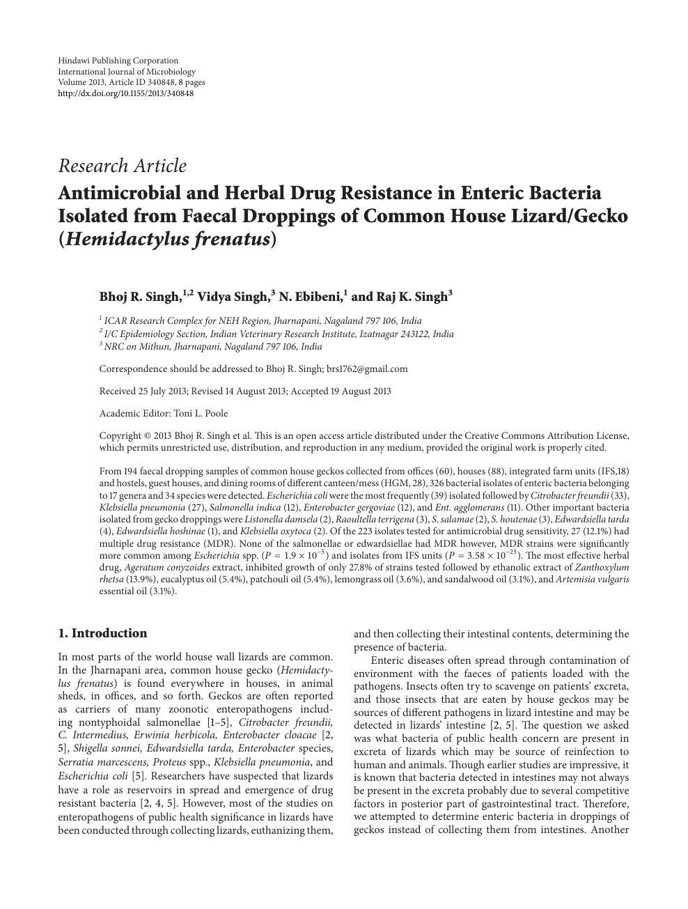 Antimicrobial and Herbal Drug Resistance in Enteric Bacteria